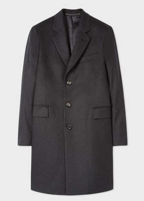 Paul Smith Men's Dark Grey Cashmere-Blend Overcoat