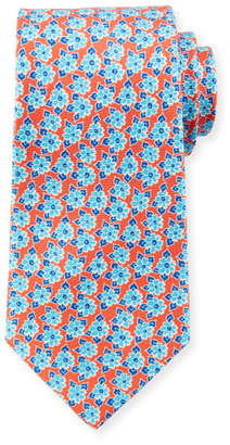 Kiton Men's Coral Printed Flowers Tie