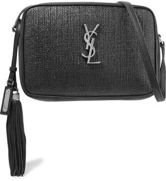 c71090b5bbb7 Saint Laurent Lou Raffia And Leather Shoulder Bag - Black