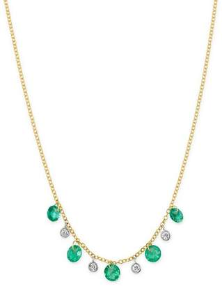 """Meira T 14K Yellow Gold Drilled Emerald and Diamond Adjustable Dangle Necklace, 18"""""""