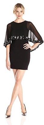 Betsy & Adam Women's Short Caplet Sequin Trim Dress $169 thestylecure.com