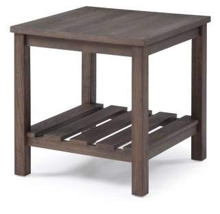 Emerald Home Wood Haven Dark Brown End Table with Open, Slatted Shelf