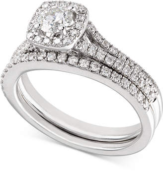 X3 Certified Diamond Engagement Ring and Wedding Band Bridal Set (1 ct. t.w.) in 18k White Gold