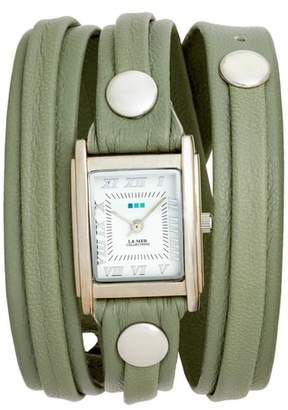 La Mer Saturn Leather Strap Wrap Watch, 25mm