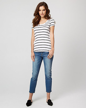 Le Château Stripe Cotton Slub Lace-Up T-Shirt