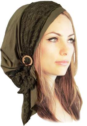 styling/ ShariRose Boho Chic Pre-Tied Head Scarf Gorgeous Lace Wrap Coconut Buckles - 131