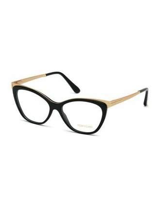 TOM FORD Cat-Eye Optical Frames, Shiny Black $470 thestylecure.com
