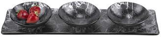 3 Bowl Black Serving Tray