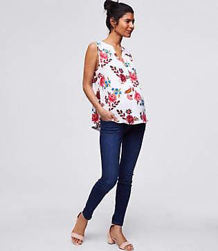 LOFT Petite Maternity Skinny Crop Jeans in Dark Indigo