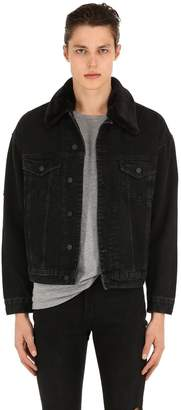 The Kooples Distressed Denim Jacket W/ Faux Fur