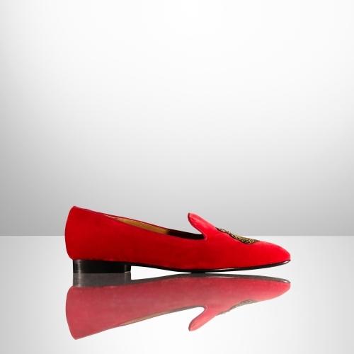 Ralph Lauren Quintessa Crest Velvet Loafer