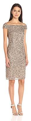 Adrianna Papell Women's Off the Shoulder Beaded Dress $199 thestylecure.com