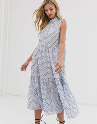Y.A.S sleeveless cotton high neck midi dress