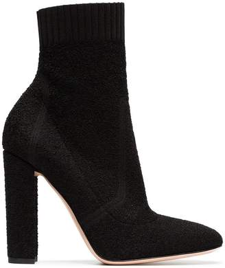 Gianvito Rossi black sock 105 leather ankle boots