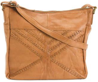 Leather Woven Detail Satchel Hobo