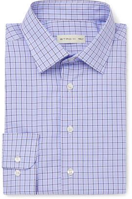 Blue Slim-Fit Checked Cotton-Poplin Shirt