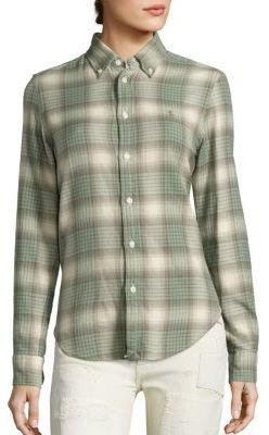 Polo Ralph Lauren Cotton Flannel Plaid Shirt $98.50 thestylecure.com