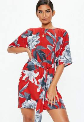 Missguided Red Tie Waist Floral T-Shirt Dress