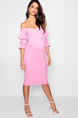 boohoo Maternity Off Shoulder Detail Midi Dress
