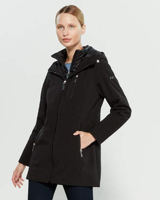 Calvin Klein Black Hooded Softshell Raincoat