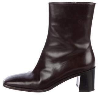 Gucci Leather Square-Toe Boots
