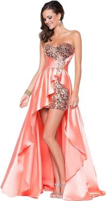 Azbro Women's Strapless High Low Sequin Prom Evening Bridesmaid Long Maxi Dress, XXL