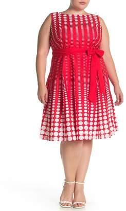 Anne Klein Octo Fade Print Waist Tie Woven Dress (Plus Size)