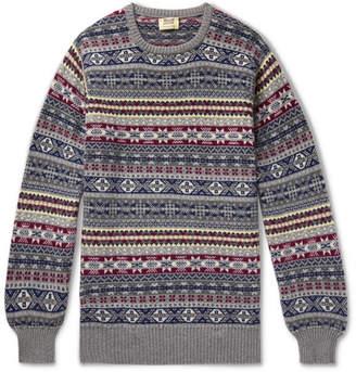 William Lockie - Fair Isle Shetland Cashmere Sweater - Gray