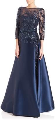 Teri Jon Bead Top Satin Gown