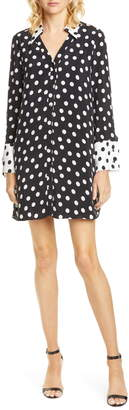 Alice + Olivia Halima Long Sleeve Polka Dot Shirtdress