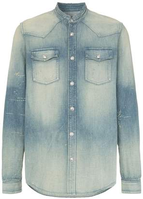 Balmain logo embroidered collarless denim shirt