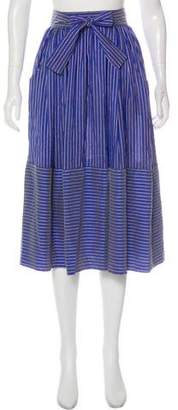 Tome Silk Striped Midi Skirt