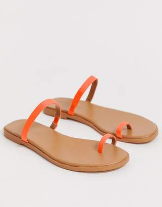 Asos Design DESIGN Freedom toe loop flat sandals in neon orange