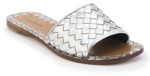 Bottega Veneta Intrecciato Metallic Leather Slides $620 thestylecure.com