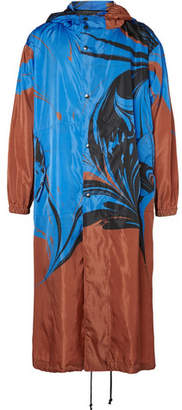 Dries Van Noten Oversized Marble-Print Shell Hooded Coat
