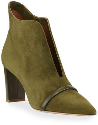 Malone Souliers Open-Front Suede Ankle Booties