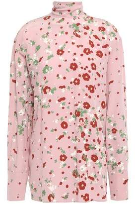 Valentino Tie-neck Draped Printed Silk Crepe De Chine Blouse