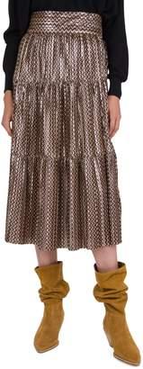 BA&SH Poly Printed Midi Skirt