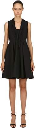 MSGM Fringed Double Crepe Cady Mini Dress