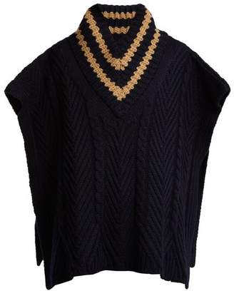 See by Chloe Striped cable-knit wool-blend poncho