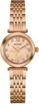 Bulova Women's Dress Diamond Accent Rose Gold-Tone Stainless Steel Bracelet Watch 24mm 97P116 $350 thestylecure.com