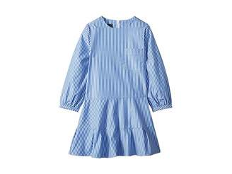 Oscar de la Renta Childrenswear Long Sleeve Tie Bow Front Dress (Little Kids/Big Kids)