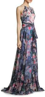 Badgley Mischka Floral Ruffle Wrap Gown