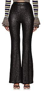 Cynthia Rowley WOMEN'S SEQUINED FLARED PANTS-BLACK SIZE 0