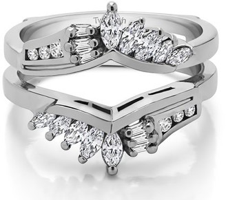 TwoBirch Cubic Zirconia Mounted In Sterling Silver Chevron Anniversary Style Ring Enhancer (0.68ctw)