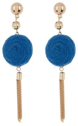 Ettika Thread Circle & Chain Tassel Dangle Earrings