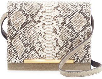 B Brian Atwood Sadie Snake-Embossed Leather Crossbody Bag, Taupe $220 thestylecure.com