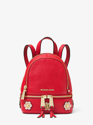Michael Kors Rhea Mini Floral Applique Leather Backpack