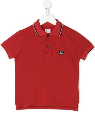 C.P. Company Kids logo patch polo shirt