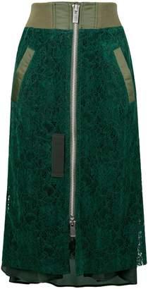 Sacai lace panel skirt